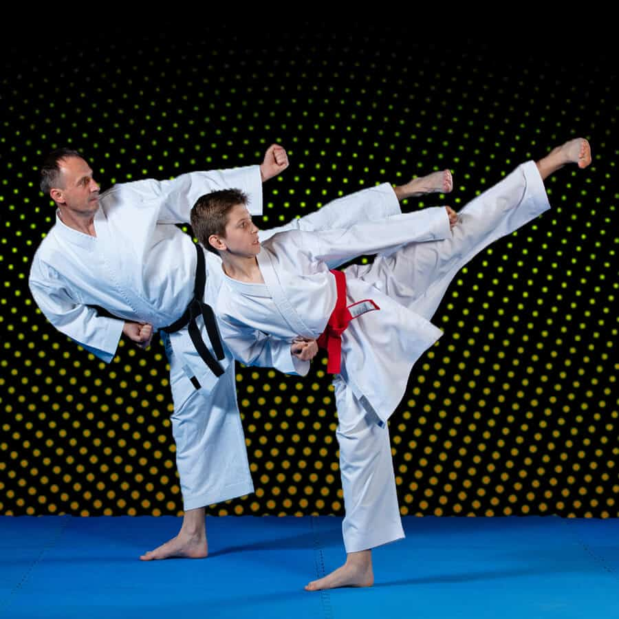 Martial Arts Lessons for Families in Manahawkin NJ - Dad and Son High Kick